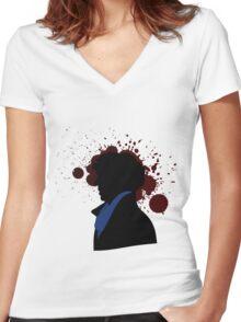 Fallen Sherlock (light) Women's Fitted V-Neck T-Shirt