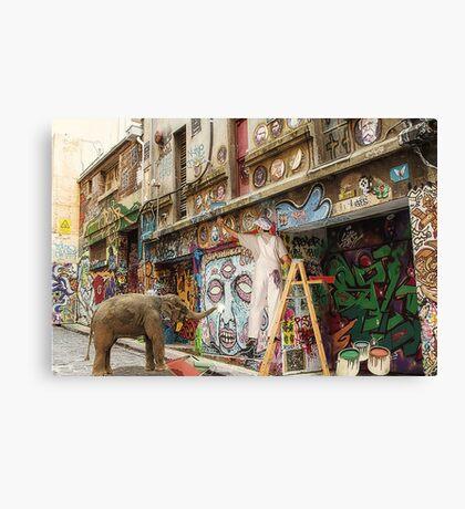 Graffiti Artists at Work in Hosier Lane Melbourne  Canvas Print