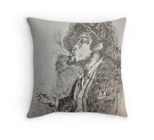Slouched and Smoking  Throw Pillow