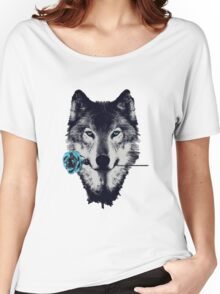 Wolf With a Rose Women's Relaxed Fit T-Shirt