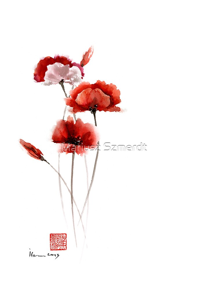 Red and orange poppies nature field watercolor painting summer fragrances by Mariusz Szmerdt