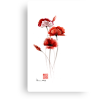 Red and orange poppies nature field watercolor painting summer fragrances Canvas Print
