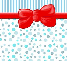 Ribbon, Bow, Dots, Spots, Stripes - Blue White Red by sitnica