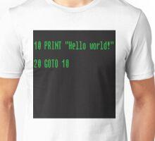 BASIC COMPUTER language Hello world Unisex T-Shirt