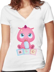 BABY DINO Women's Fitted V-Neck T-Shirt