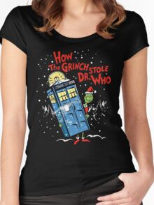 How the Grinch Stole Dr Who (on Dark) Women's Fitted Scoop T-Shirt