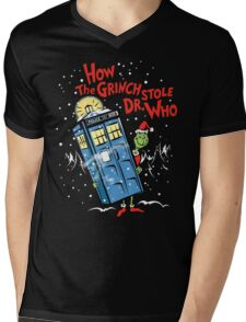 How the Grinch Stole Dr Who (on Dark) Mens V-Neck T-Shirt