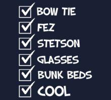 Cool Whovian Checklist - white text Kids Tee