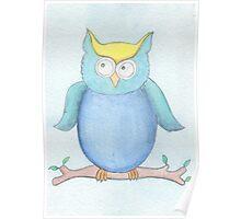 Owl - Blue Poster