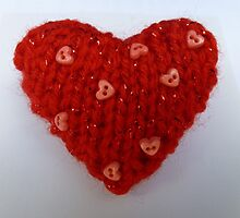 Red Hand Knitted Heart by mrsmcvitty