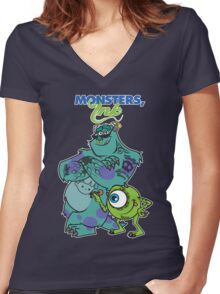 Monsters Ink Women's Fitted V-Neck T-Shirt