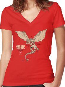 Kaiju Anatomy 2 Women's Fitted V-Neck T-Shirt