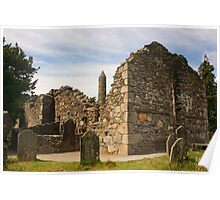 Ruined Church, Glendalough Poster