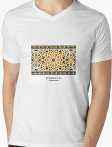 Moroccan Tile (with 'Morocco' title) Mens V-Neck T-Shirt