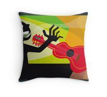 Cartoon musician man with guitar Throw Pillow