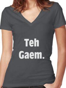 Teh Gaem Shirt (WHITE) Women's Fitted V-Neck T-Shirt