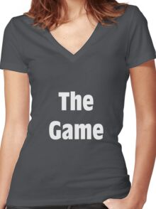 The Game! Shirt (WHITE) Women's Fitted V-Neck T-Shirt