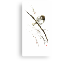 Little bird on branch watercolor original ink painting artwork Canvas Print