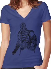 Sub-Zero MKX Art Women's Fitted V-Neck T-Shirt
