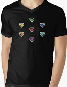 Pixel Hearts Mens V-Neck T-Shirt
