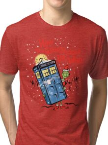 How the Grinch Stole Dr Who (on Light) Tri-blend T-Shirt