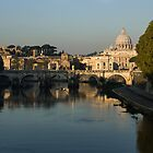 Rome - Iconic View of Saint Peter's Basilica Reflecting in Tiber River by Georgia Mizuleva
