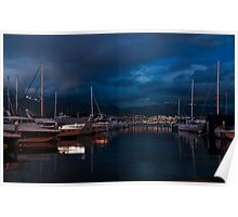 Blue Hour - Stanley Park Marina, Vancouver, British Columbia, Canada Poster