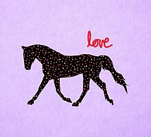 Cute Horse, Hearts and Love by Patricia Barmatz