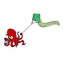Kite Flying Octopus Photographic Print