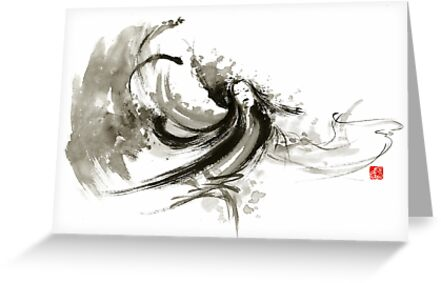 Geisha dancer dancing girl Japanese woman original painting  by Mariusz Szmerdt