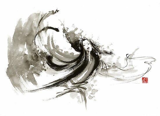 Geisha dancer dancing girl Japanese woman original painting  by Mariusz Szmerdt