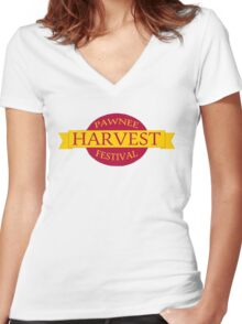 Pawnee Harvest Festival logo Women's Fitted V-Neck T-Shirt
