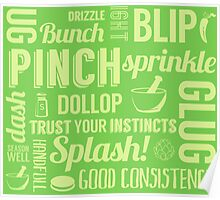 Kitchen measures typography - green Poster