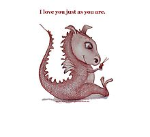 'I love you just as you are' Red Dragon, small friend Photographic Print
