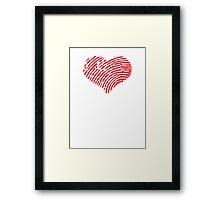 Red Heart Fingerprint Framed Print