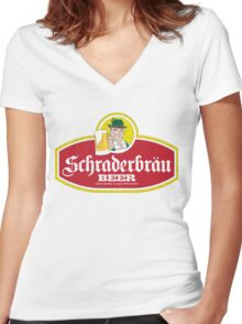 Schraderbrau Logo Women's Fitted V-Neck T-Shirt