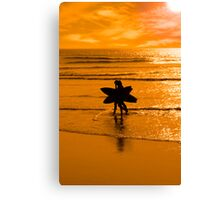 angelic surfing couple silhouette Canvas Print