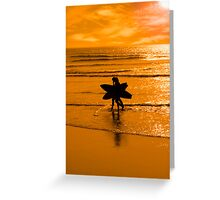 angelic surfing couple silhouette Greeting Card