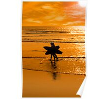 angelic surfing couple silhouette Poster