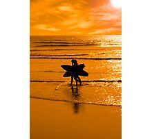 angelic surfing couple silhouette Photographic Print