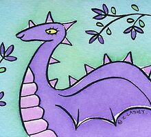 Pretty Purple Dragon with Pink Spikes  by Zoe Lathey