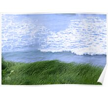 grass on the cliff edge Poster