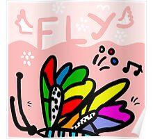 Moth flight over land Poster