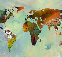 Floral World Map by ArtByRuta