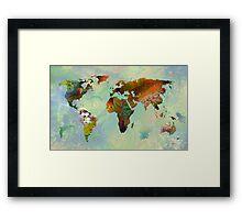 Floral World Map Framed Print
