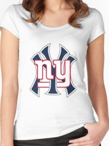 Ny Yankees Ny Giants Mashup Women's Fitted Scoop T-Shirt