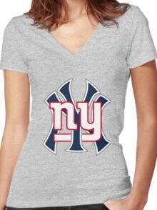 Ny Yankees Ny Giants Mashup Women's Fitted V-Neck T-Shirt
