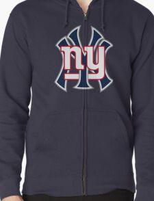 Ny Yankees Ny Giants Mashup Zipped Hoodie