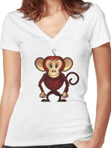 Monkey Madness Women's Fitted V-Neck T-Shirt