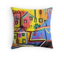 Beautiful scenery small town Throw Pillow
